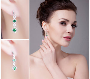 The Long Drop Earrings in Emerald
