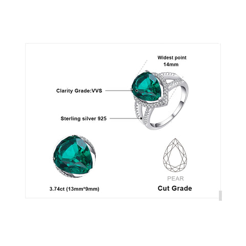 Pear Cut Emerald Sterling Silver Ring for Women Born in May