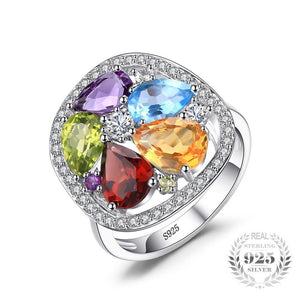 Luxury 4.5ct Genuine Amethyst Garnet Peridot Blue Topaz Ring