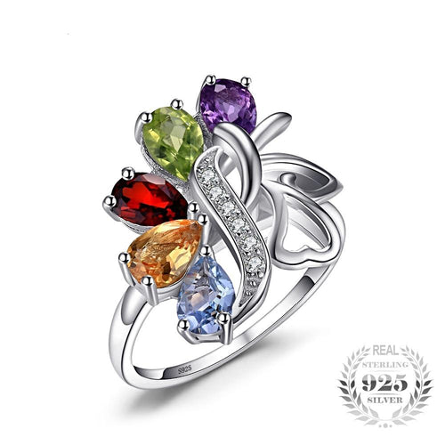 Multi-stones floral ring Cocktail Ring in Solid 925 Sterling Silver Jewelry