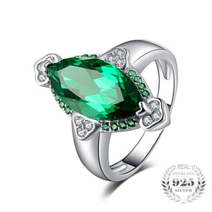 Marquise Cut Emerald Sterling Silver Ring for Women Born in May