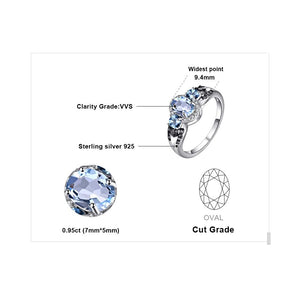 1.6ct Natural 3 stones Sky Blue Topaz 100% Rear Engagement Rings For Women