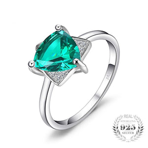 Triangle Shape Emerald Sterling Silver Ring for Women Born in May