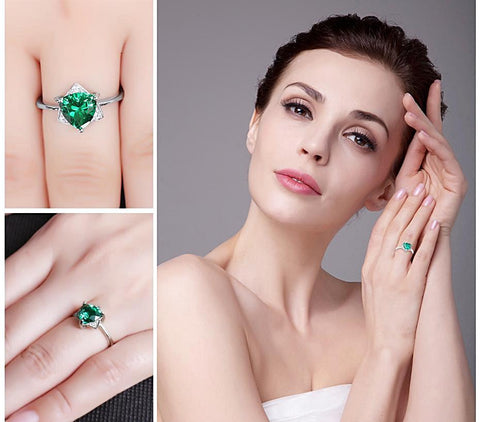 Image of Triangle Shape Emerald Sterling Silver Ring for Women Born in May