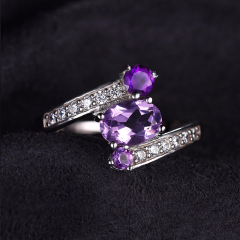 The Triplets (ring) in Amethyst {dark}