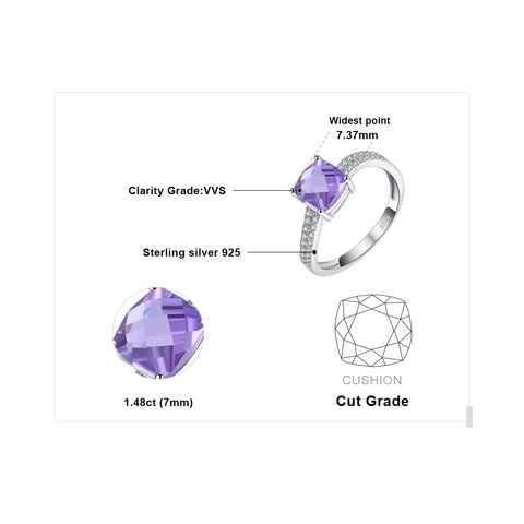 Square Cut Amethyst Ring For Women Born In February