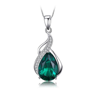 Dropped Teardrop Pendant in Emerald