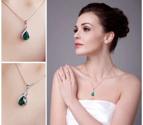 Image of Dropped Teardrop Pendant in Emerald