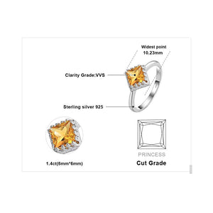 Classic Square Citrine Ring for Women Born in November