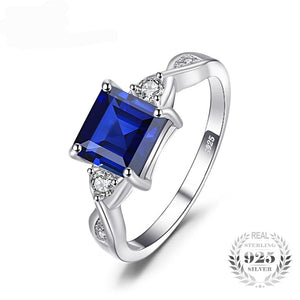 Square Cut Blue Sapphire Ring for Women Born in September