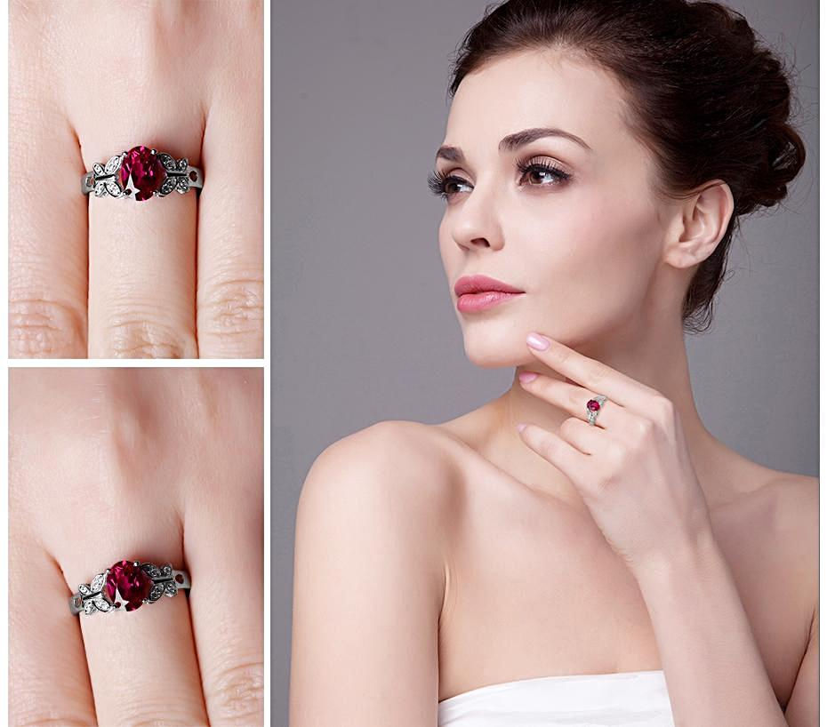 Butterfly Style Oval Cut Red Ruby Ring in Sterling Silver for Women Born in July