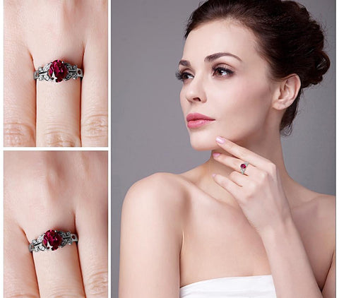 Image of Butterfly Style Oval Cut Red Ruby Ring in Sterling Silver for Women Born in July