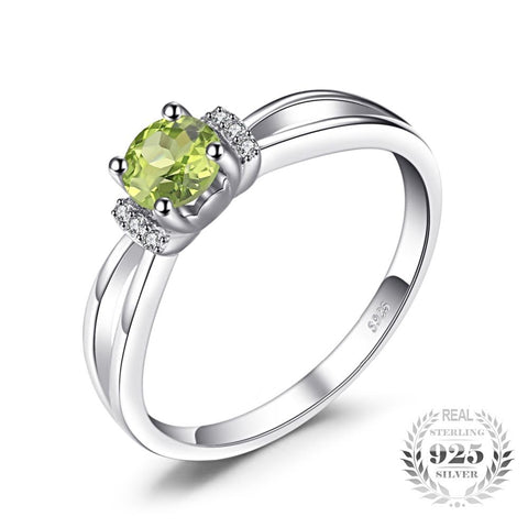 Image of 0.6ct Round Cut Peridot Ring For Woman Born in August