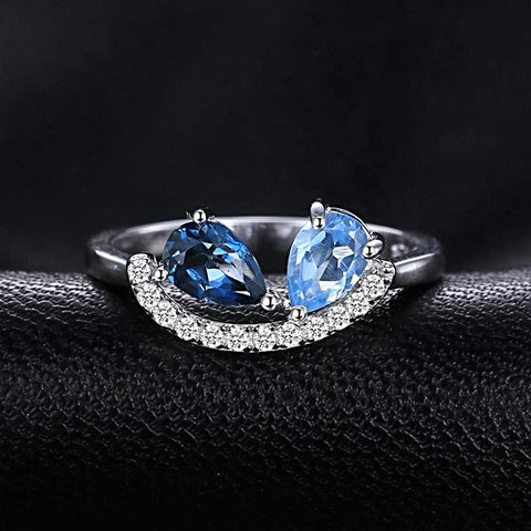The Pair (ring) in Natural Sky Blue Topaz and London Blue Topaz