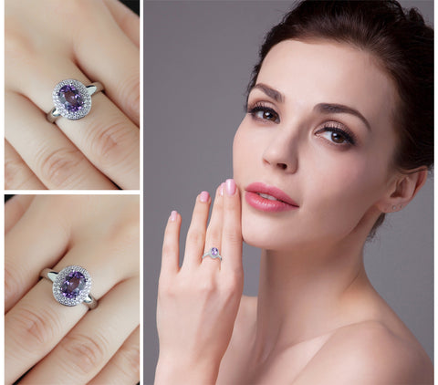 On a Silver Platter (round) Ring in Amethyst