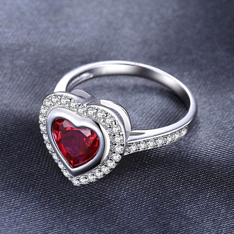 Heart Shape Red Ruby Ring in Sterling Silver for Women Born in July