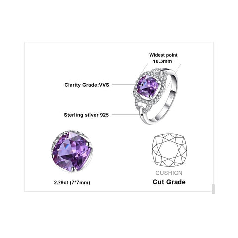 Image of Square 2.5ct Square Alexandrite Sapphire Ring For Women