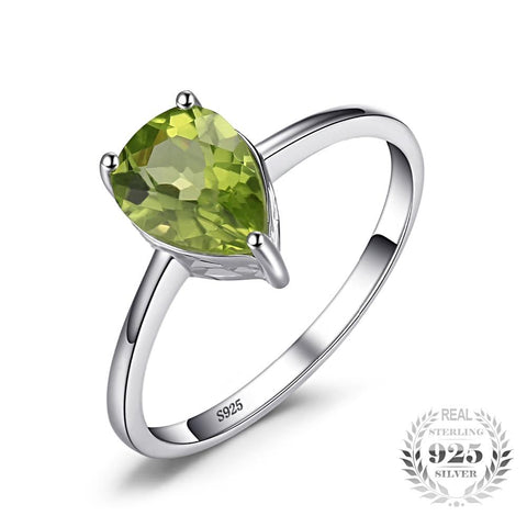 Image of Water Drop 1.2ct Peridot Ring For Women Born in August