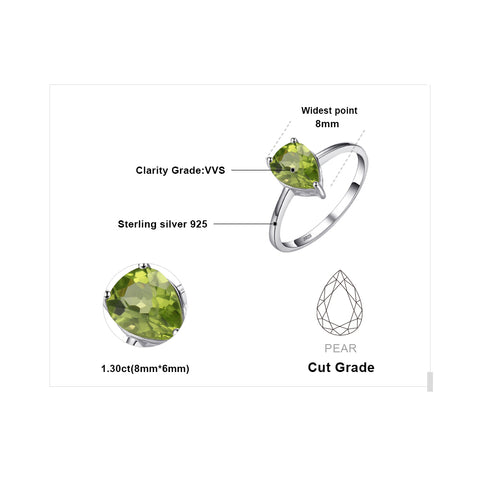 Water Drop 1.2ct Peridot Ring For Women Born in August