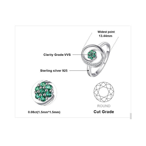 Image of Floral Design Round Cut Emerald Sterling Silver Ring for Women Born in May