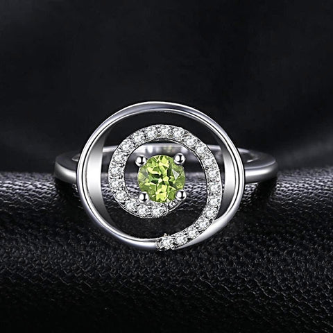 Circular Swirl 0.4ct Peridot Ring For Women Born in August