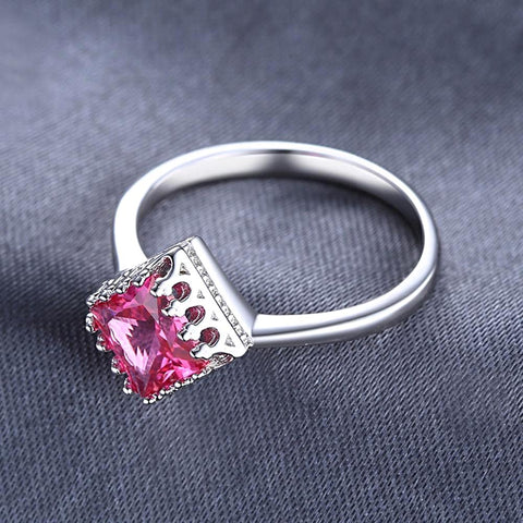 Square Pink Sapphire Ring for Women Born in September