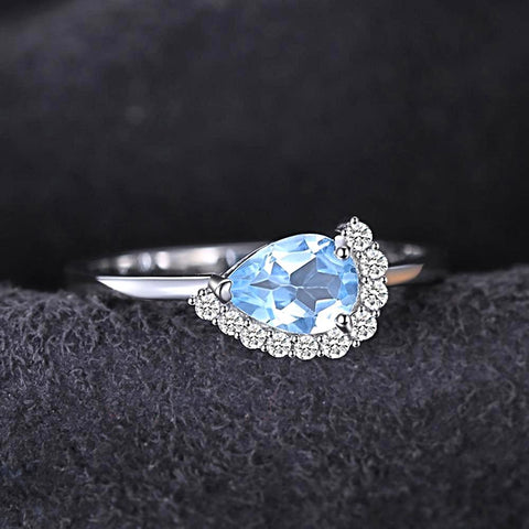 2.53 ct Water Drop Sky Blue Topaz Ring For Women Born in November