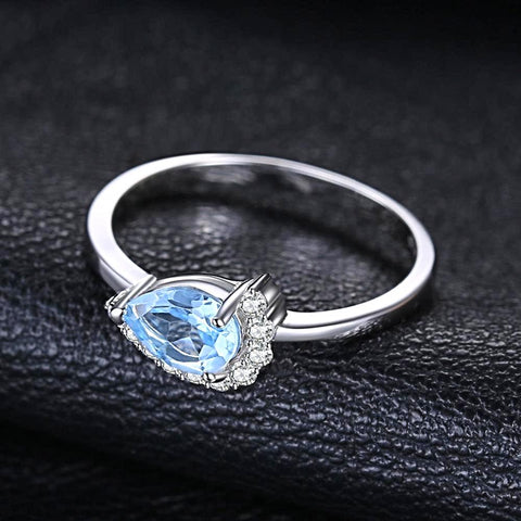 Image of 2.53 ct Water Drop Sky Blue Topaz Ring For Women Born in November