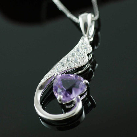Image of Heart Natural Amethyst Pendant Solid 925 Sterling Silver Gem Stone Pendant