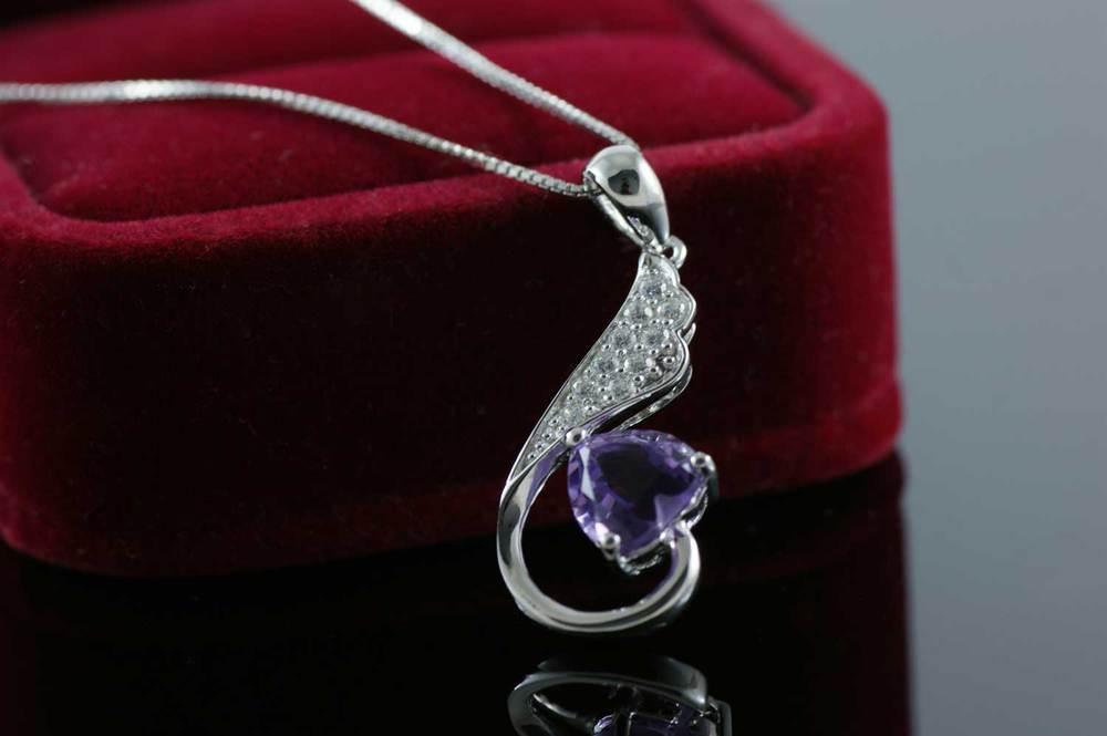 Heart Natural Amethyst Pendant Solid 925 Sterling Silver Gem Stone Pendant