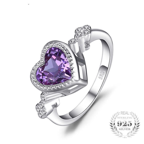 Heart Shaped Amethyst Ring For Women Born In February
