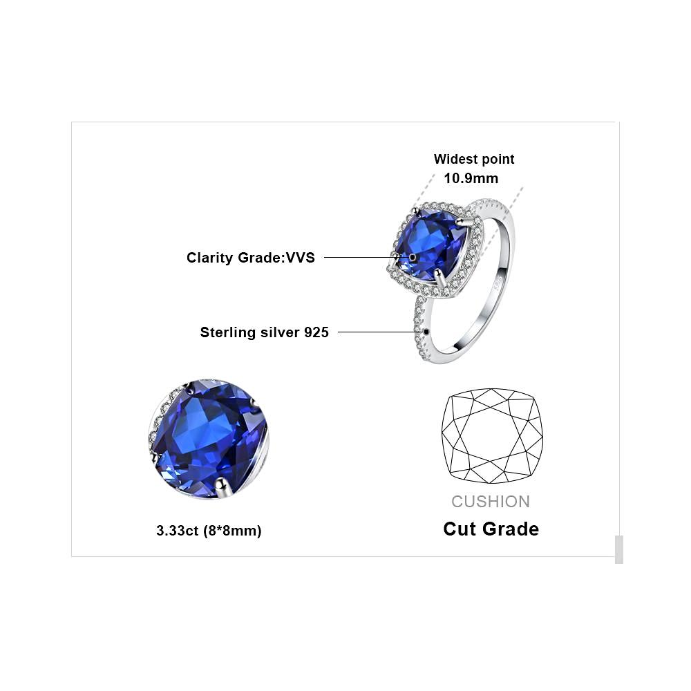 Square Blue Sapphire Engagement Ring For Women born in September