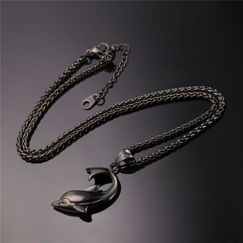Dolphin Necklace Silver Color Stainless Steel Pendant & Chain For Women