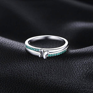 Butterfly Created Emerald Sterling Silver Ring for Women Born in May