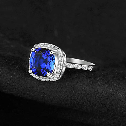 Image of Square Blue Sapphire Engagement Ring For Women born in September