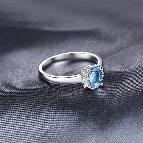 1ct Oval Sky Blue Topaz Ring for Women Born in November