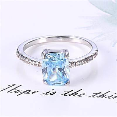 Classic Cocktail Aquamarine Ring For Women Born In March