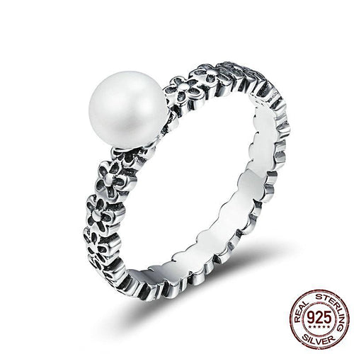 Freshwater Pearl Ring with Flower Motif Band for Women Born in June