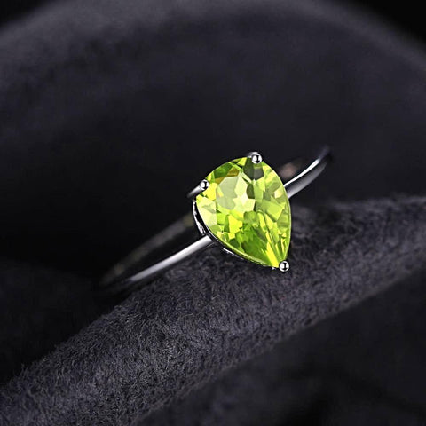 Image of Pear 1.3ct Peridot Ring For Women Born in August