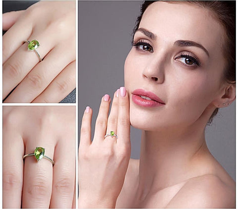 Pear 1.3ct Peridot Ring For Women Born in August