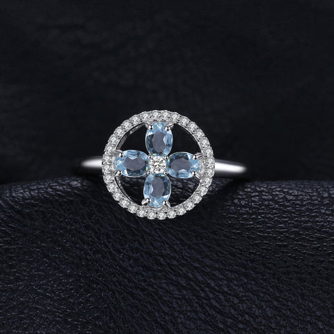 Image of Plant Shaped Aquamarine Ring For Women Born In March