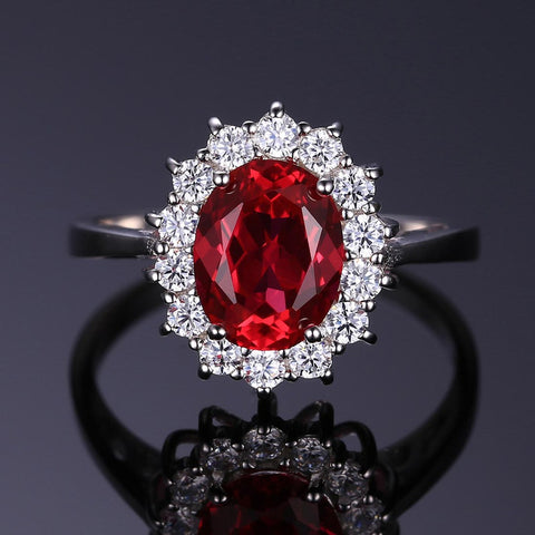 Image of Plant Shape Red Ruby Ring in Sterling Silver for Women Born in July