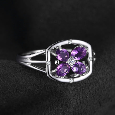Plant Shaped Amethyst Ring For Women Born In February