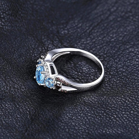 Image of 1.6ct Natural 3 stones Sky Blue Topaz 100% Rear Engagement Rings For Women