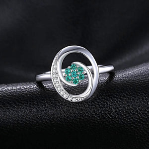 Floral Design Round Cut Emerald Sterling Silver Ring for Women Born in May
