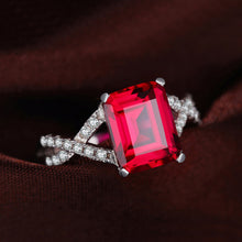 Emerald Cut Red Ruby Ring in Sterling Silver for Women Born in July