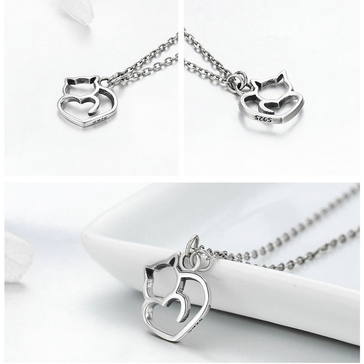 925 Sterling Silver Lovely Cat Exquisite Women Pendant Necklace