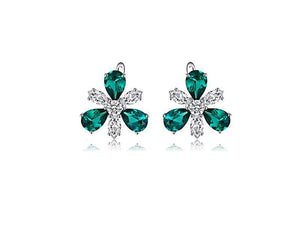 Emerald Flower Clip Earrings