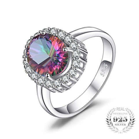 Image of Natural Mystic Fire Rainbow Topaz Ring For Women