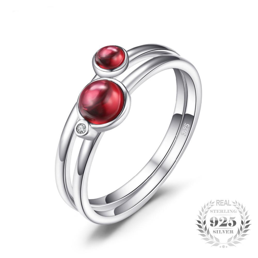 Pair of Round Sterling Silver Garnet Ring for Women Born in January